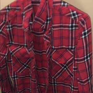 Plaid red long sleeve